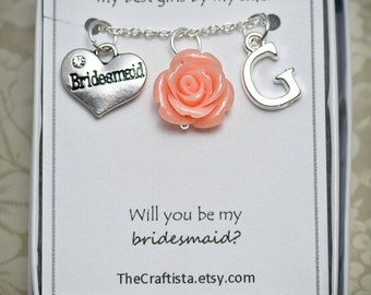 Personalized Bridesmaid Necklace with Color Motif and Initial -BM09- Vintage Inspired Bridesmaid Necklace, Bridesmaid Gift, Bridesmaid