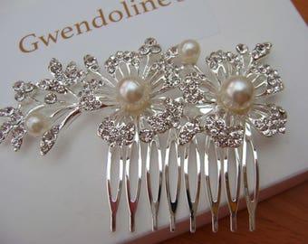 Bridal Hair Comb - Silver, Crystals and Pearls