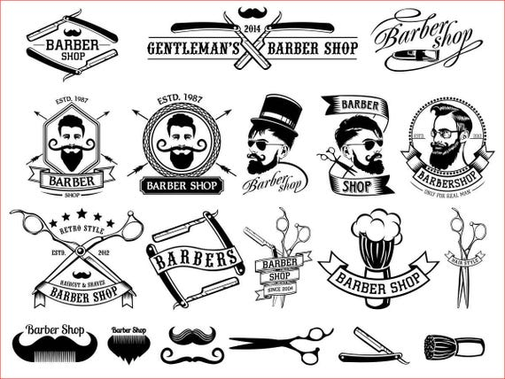 Barber Shop Vector Collection Beard Moustache Razor Svg Cdr