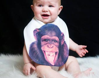 Infant Baby Bib | Monkey Gifts | Funky infant Bibs | Crazy Baby Bibs | Funny Baby Bibs  | Infant, Baby, Toddler | Baby Shower gift | Custom
