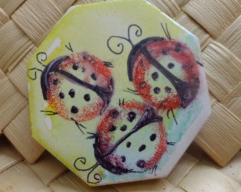 Ceramic Tile Magnet.  With Sammydoodle lady Bugs