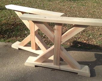 Farmhouse Trestle Table Legs, X-Frame Table Legs, Wood Table Legs, Wide Table Legs