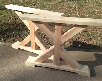Delightful Farmhouse Trestle Table Legs, X Frame Table Legs, Wood Table Legs, Wide