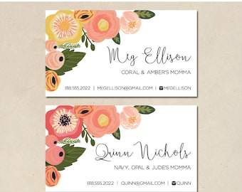 printable mommy calling cards - personalized floral cards - hand illustrated florals - business cards - simple - DIY - customized