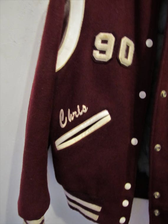 DEERFOOT A amp; 40R Leather By Jacket Wool Men's Colored Vintage M 90' Down LETTERMAN'S Marked Cranberry SHqw44