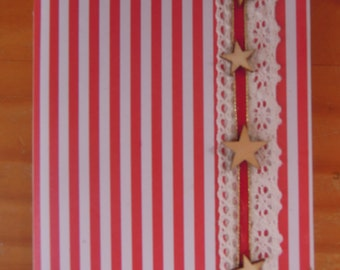 Red and white striped book star