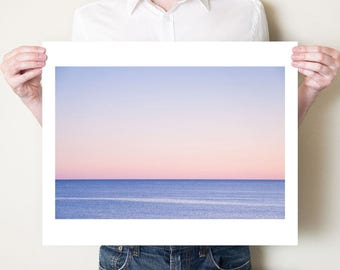 Abstract ocean photography seascape fine art print. Minimalist blue pink coastal decor, Gulf of Mexico Florida photograph, beach artwork
