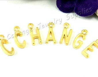 Alphabet Beads, 50 Pcs 24k Gold Letter Pendant, Flat Alphabet Letters , Matte Gold Alphabet Charms, ABC Letter, Tiny Gold Letter Findings