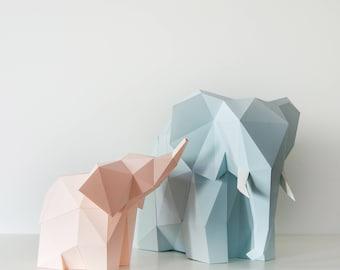 Elephant Family - DIY Paperlamp ( pre-cut papercraft kit, DIY paper lamp )