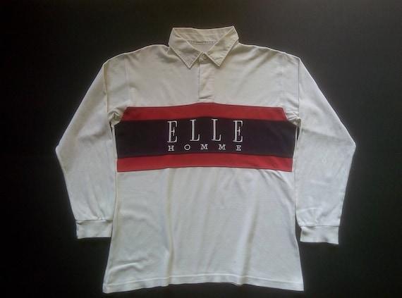Vintage 90s Elle Homme Paris T-Shirts XLarge Size Spellout / Colour Block HipHop Designer 0Ogertk