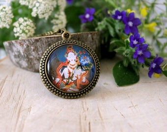 White Tara, Goddess of Peace and Protection, Buddhism Amulet, Antique Bronze Pendant, Hindu Jewelry, Glass Dome Pendant