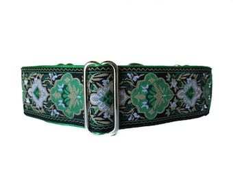 1.5 Inch Martingale Collar, St Patrick's Martingale Collar, Christmas Dog Collar, Green Dog Collar, Jacquard Dog Collar, Greyhound Collar