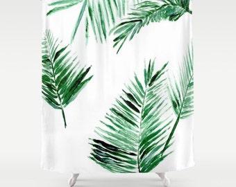 Palm Leaf Shower Curtain Botanical