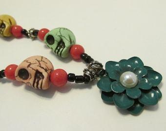 pastel skull necklace