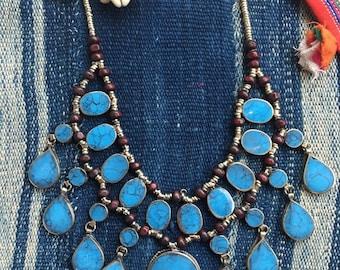 Badria Necklace Vintage Turquoise Afghani Statement Necklace