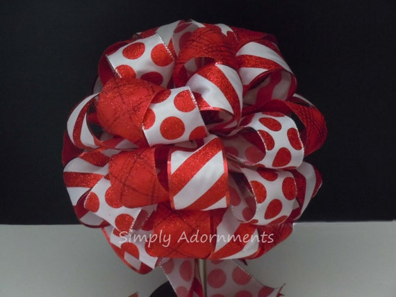 Red White Christmas Bow Candy Cane Polka Dots Christmas Tree Topper Bow Candy Cane Christmas Tree Topper Bow Christmas Gift Bow