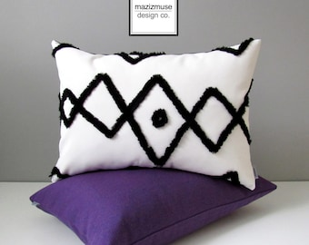 Beni Ourain Outdoor Pillow Cover, Decorative Black & White Sunbrella Pillow Case, Tribal Moroccan, Modern Bohemian Cushion Cover Sunbrella