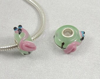 Pink Flamingo Large Hole Lampwork Glass Bead - 925 Sterling Silver European Bead Charm