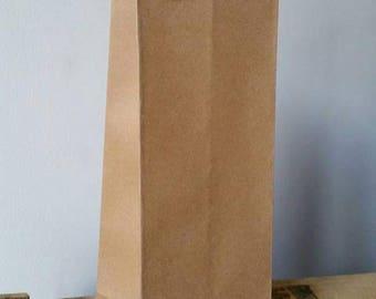 1 x tote bag for bottle 35x10x10cm plain natural Brown kraft paper