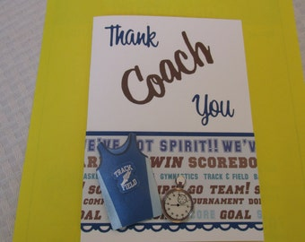 "Track & Field Coach thank you card, ""thanks for everything"""