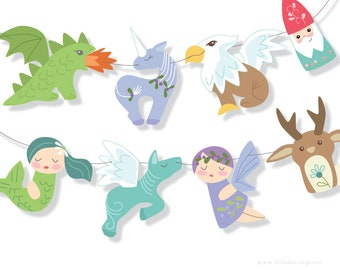 DIY Printable Mythical Creatures Banner PDF Scrapbooking Party Decorations