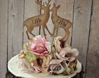 deer-bride-groom-wedding-cake topper-lover-hunting-hunter-camouflage-rustic-deer on sticks-Mr and Mrs-custom-set-groom's cake-animal-buck