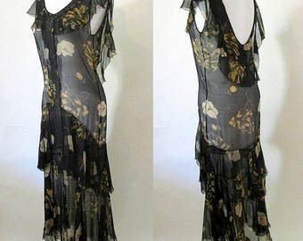 Dreamy 1930's Silk Chiffon Bias Cut Dress Old Hollywood Chic Plunging Neckline Curve Hugging fit Classic Vintage  party Dress Size Small