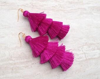 Cha Cha Magenta Tassel Earrings, Stacked  Layered Tassel Earrings, Long Pink Earrings, Jewelry Handmade, E048, Wholesale Jewelry