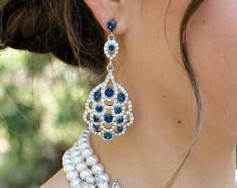 Bridal rhinestone Earrings statement wedding Earrings Something Blue Earrings blue swarovski Crystal Earrings Chandelier Earrings SUSANE