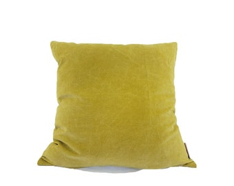 Mustard Yellow Large Velvet Cotton Fabric Cushion Cover  | Free UK Delivery