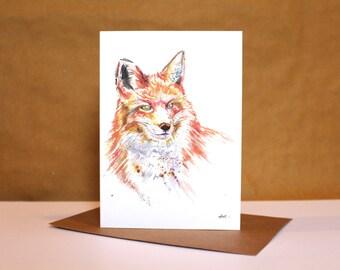 Fox Watercolour Card ~ fox card, fox art, watercolour fox, fox watercolour print, fox illustration