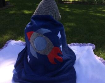 Rocket ship hooded towel