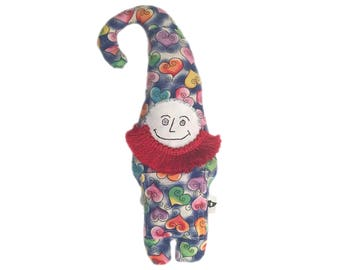 gnome doll stuffed animal toy, handmade, one of a kind, heart fabric, Childs gift, upcycled
