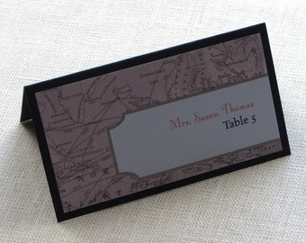 Vintage Map Place Card - Destination Travel Wedding Tent Name Card - Escort Card - Custom Colors
