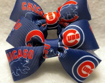 Girly Chicago Cubs Bow Set