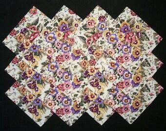 """FLORAL GARDEN 6.5"""" Squares, 100% cotton prewashed, fussy cut Quilt Fabric (#E/103A)"""