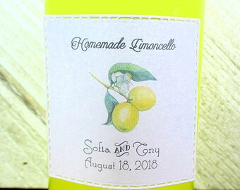 Limoncello Labels -  Set of 24 - Personalized - Handmade - Hand made - Wedding Favor Stickers - Custom - Adhesive - Matt White