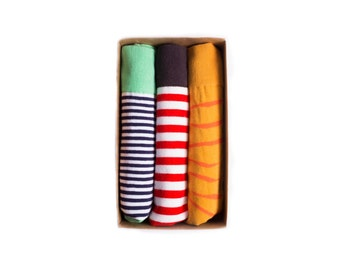 Mr.ZZ 3-Pack Colorful Fun Fashion, Mens Dress Socks, Groomsmen Socks Stripes