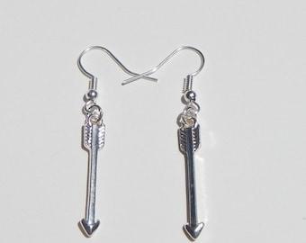 Arrow Earrings, Silver Arrow Earrings, Arrow Charms, Simple Earrings, Minimalist Earrings, Arrow Dangle Earrings, Arrows, Arrow Jewelry