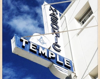 "Masonic Temple Sign St. Petersburg, Florida Photo Print - 8"" x 8"""