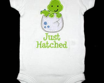 Custom Personalized Applique DINOSAUR in EGG and Just Hatched or Name Bodysuit or Shirt - Lime Green