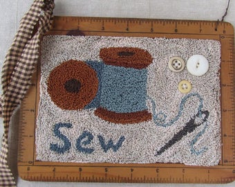 Primitive Punch Needle Paper Pattern ~ Sewing Notions ~ Needle Punch Pattern ~ Punchneedle~ Sewing Room Decor~ Weavers Cloth~ Mailed Pattern