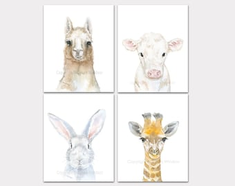 Watercolor Animal Art Prints - Set of 4 - Llama Cow Bunny and Giraffe - Nursery Wall Decor PORTRAIT-Vertical Orientation