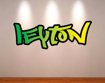 Lovely Personalized Custom Name Full Color Graffiti Wall Decals Cracked 3d Wall  Sticker Mural Decal Graphic Wall