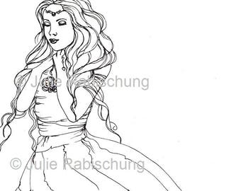 Romantic woman simple design digital stamp/coloring page