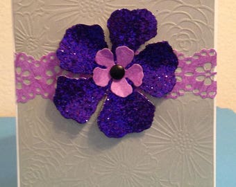 Blank Greeting Card with Purple Glitter Flower