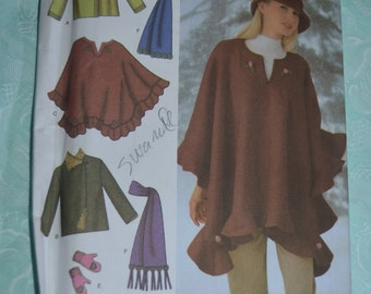 Simplicity 4783 Misses Jacket Poncho Scarf Hat and Mittens Sewing Pattern - UNCUT Size Xs S M