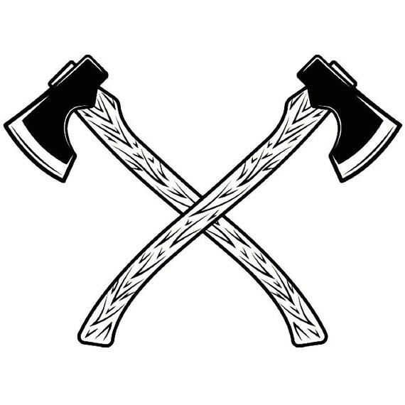 lumberjack logo 6 axes crossed tool chop forrest trees woods rh etsy com Crossed Shotgun Silhouette Two Axes Crossed
