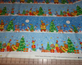 CHRISTMAS ANIMAL BORDER cotton fabric by the yard, fq+, Timeless Treasures, 100% cotton fabric, bear fabric, reindeer fabric, Christmas tree