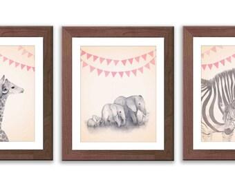 Baby Girl Nursery - Girl's Nursery Art - Safari Animal Wall Art - Safari Nursery Decor - Animal Nursery Art - S007B